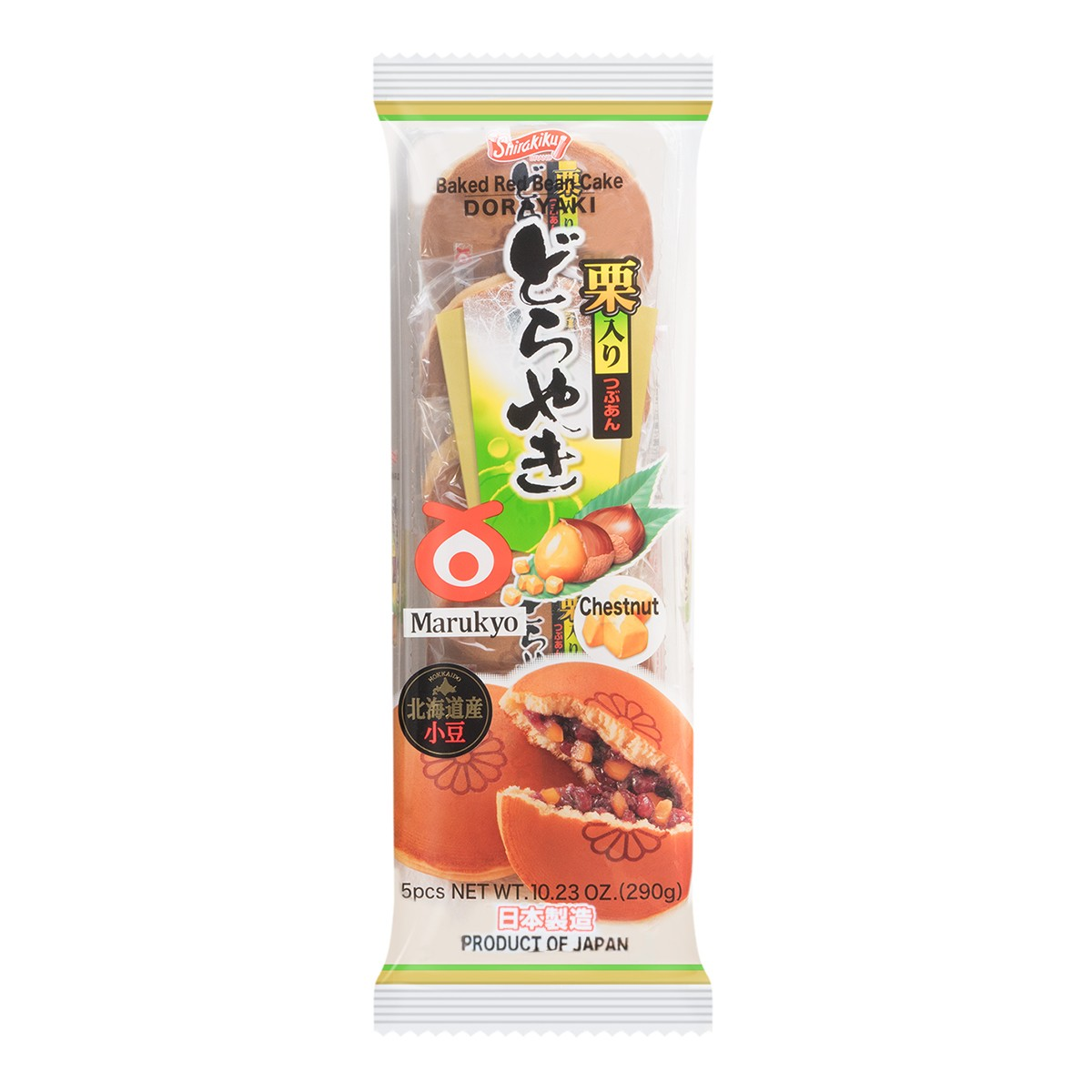 日本丸京菓子庵 铜锣烧 红豆栗子味 5枚入 290g