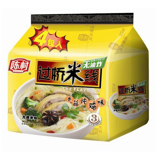 CHENCUNFEN Non-Fried Instant Noodle Soup Stewed Chicken of Mushroom Flavor 4Packs