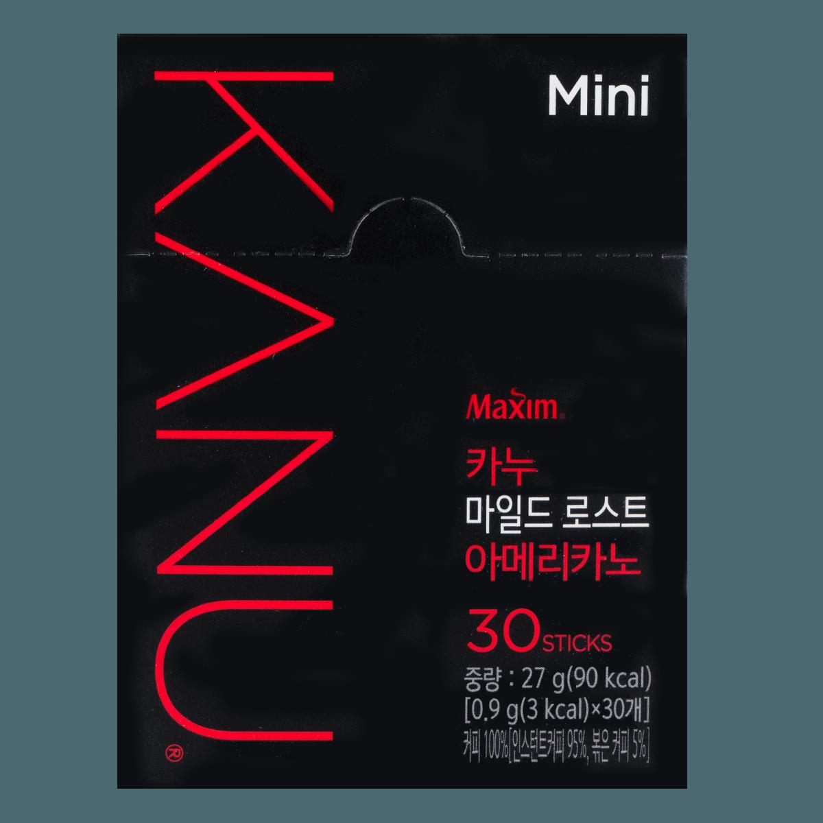 韩国MAXIM麦馨 KANU美式速溶黑咖啡 中度烘培 30条入 27g