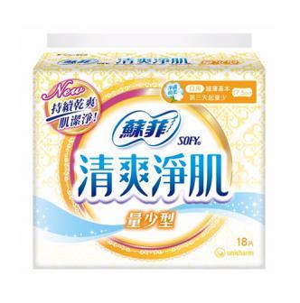 日本UNICHARM苏菲 清爽净肌卫生巾 量少型 17.5cm 18片入