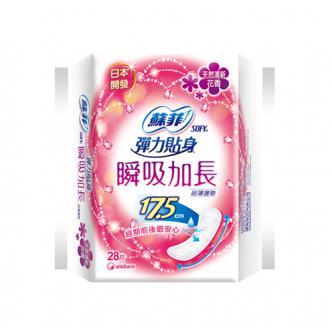 日本UNICHARM苏菲 弹力贴身瞬吸加长卫生巾 日用型 17.5cm 清新花香 28片入