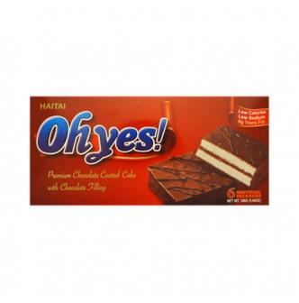 HAITAI Ohyes Premium Chocolate Coated Cake With Chocolate Filling 6Pcs