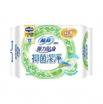 日本UNICHARM苏菲 弹力贴身抑菌洁净卫生巾 日用型 23cm 15片入 林依晨代言