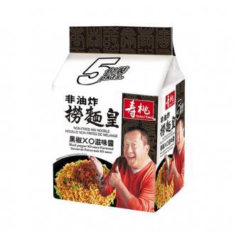 香港寿桃牌 非油炸捞面皇 黑椒XO滋味酱 5包入 曾志伟代言