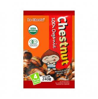 日本LA CHEETA 纯天然有机种植开口带壳甜板栗 4包独立装 240g