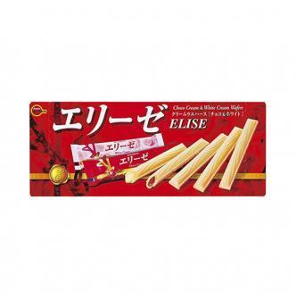 日本BOURBON波路梦 ELISE两种口味夹心蛋卷 白奶油味+巧克力味 110g