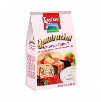 意大利LOACKER莱家 QUADRATINI 华夫小威化 覆盆子优酪乳味 220g