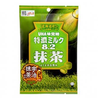 日本UHA悠哈味觉糖 8.2特浓北海道牛奶夹心宇治抹茶奶糖 81g