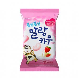 韩国LOTTE乐天 棉花牛奶糖 草莓味 63g