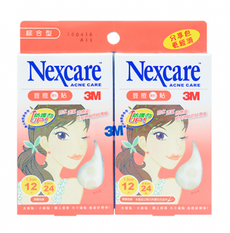 3M NEXCARE Pimple Sticker Twin Pack 2 Size Mix Pack 72 Pieces