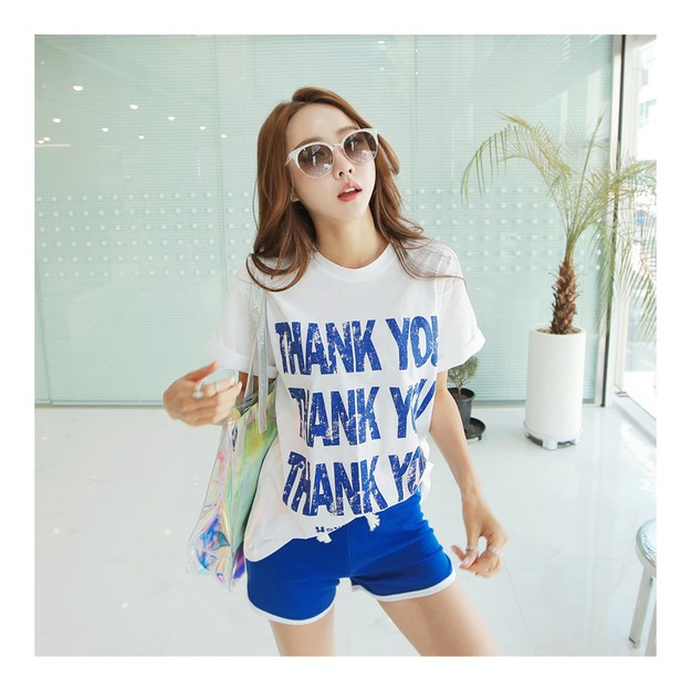 Product Detail - [KOREA] MAGZERO THANK YOU Loose T-Shirt #White One Size(S-M) [Free Shipping] - image 0