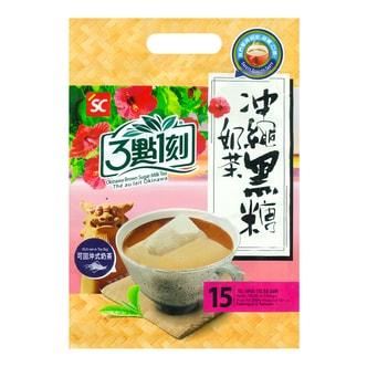 台湾三点一刻 可回冲式冲绳黑糖奶茶 15包入 300g