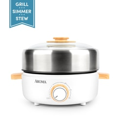 [NEW] Aroma Housewares AMC-130 Whatever Pot Indoor Grill Cooking Hot Pot with Glass Lid Bamboo Handles 2.5L