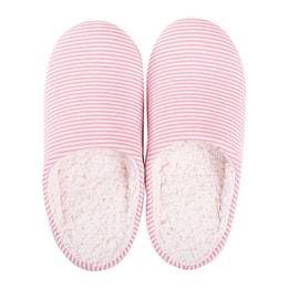 JIWU Women's Fleece Lined Pink Striped House Slippers Size L