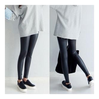 MAGZERO 【秋季新品】 人造皮革紧身弹力打底裤 #黑色 均码(S-M)