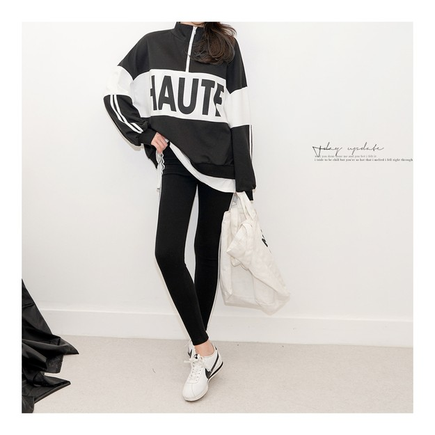 Product Detail - SSUMPARTY Oversize Half-Zip Layered Sweatshirt+Side Stripe Leggings 2 Pieces Set #Black One Size(S-M) - image 0