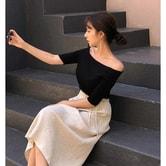 【韩国直邮】New Korean Women Summer off-shoulder V collar Sexy Loose Blouse Tops black free