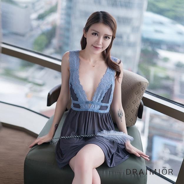 266a4f1d84 DRAIMIOR Blue lace lace soft nightdress. One size - Yamibuy.com