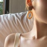 【韩国直邮】CHERRYKOKO 复古椭圆耳环 黄色 均码