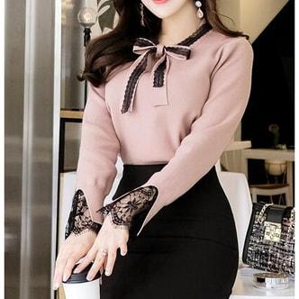 ATTRANGES New Korean Women Winter Elegant bowknot Knit Pink free size