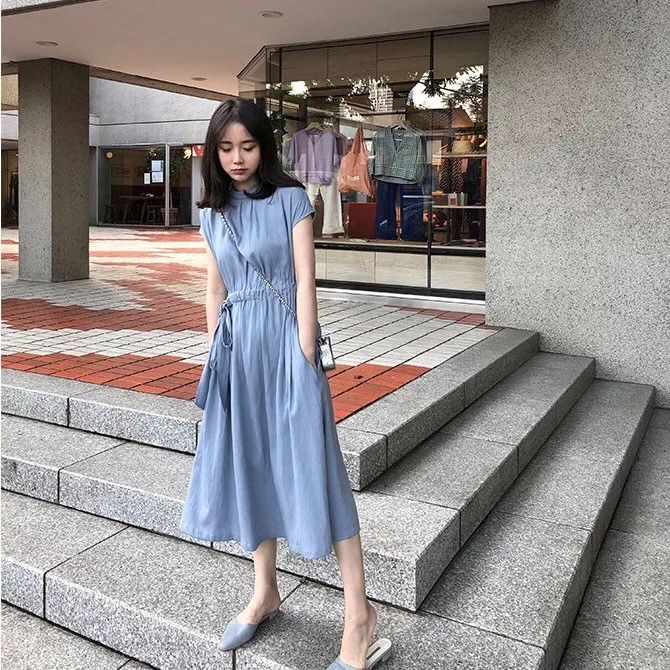 Yamibuy.com:Customer reviews:MOMO&MOLLY French Style One-Side Lace Up Waist Dress Water-blue S-size