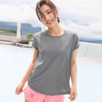 暴走的萝莉 宽松跑步运动短袖女上衣 夏季速干超轻健身服T恤健身房/波特灰#/M