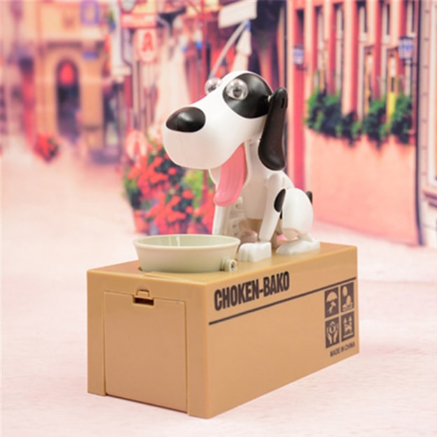 Product Detail - TIMESWOOD Cute Creative Money Dog Piggy Bank Children Toy Money Dog Electric Piggy Bank Black And White Dog 1PC - image 0