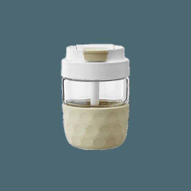 商品详情 - 网易严选 随行吸管杯 双饮口可直饮 密封玻璃咖啡杯 白茶 360ml 杯子 - image  0