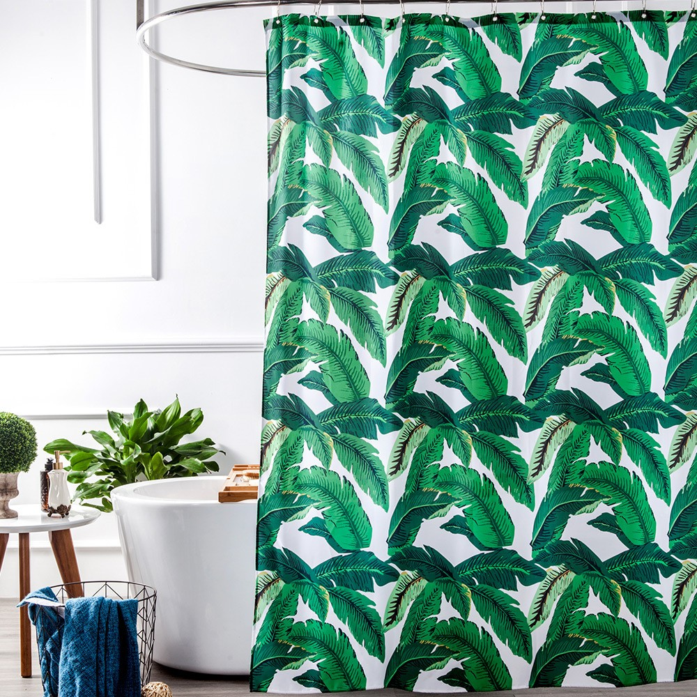 Tropical Plants Banana Leaves Green Fabric Shower Curtain Waterproof ...