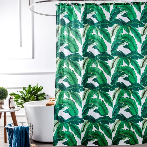 Tropical Plants Banana Leaves Green Fabric Shower Curtain Waterproof And Mildew ResistantWashable 72 X Inch
