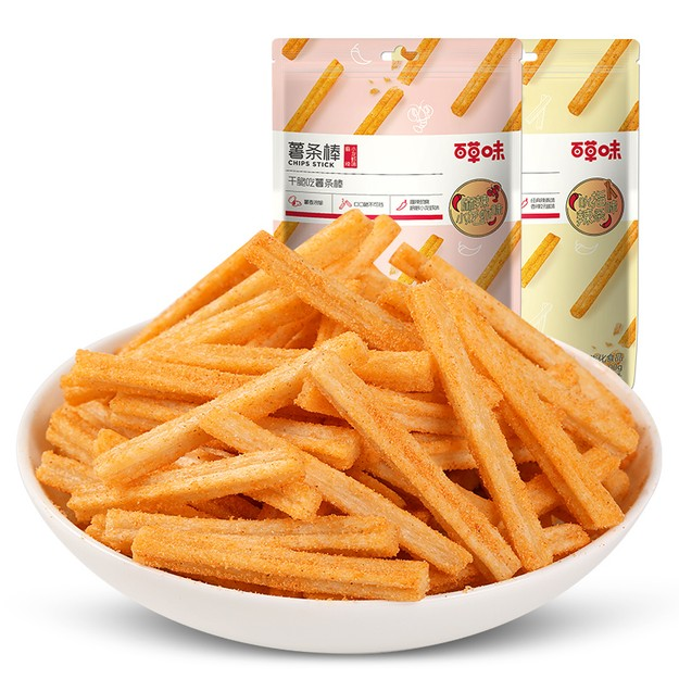 商品详情 - 【中国直邮】百草味-薯条棒 吮指辣条味 薯条小零食 100g - image  0
