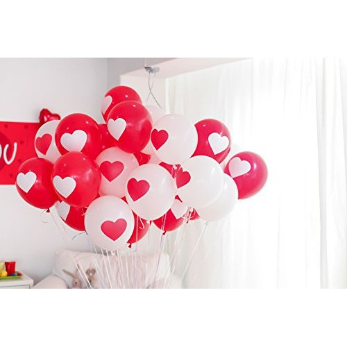 Putwo Valentines Day Balloons 12 Inches Printed Heart Balloons 50