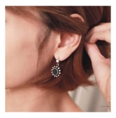 KOREA MAGZERO Sun-Shaped Imitation Pearl Stud Metal Earrings Black [Free Shipping]