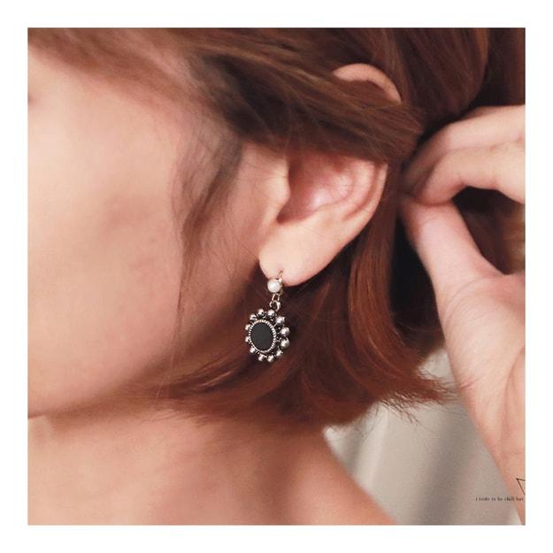 Product Detail - KOREA MAGZERO Sun-Shaped Imitation Pearl Stud Metal Earrings Black [Free Shipping] - image 0