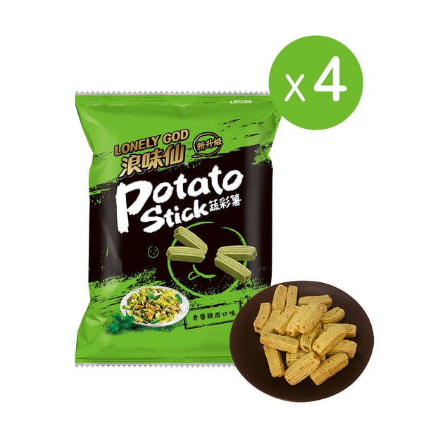 Product Detail - Taiwan WANT WANT Lonely God Potato Stick Chicken Pesto Flavor 36g*4 pack - image  0