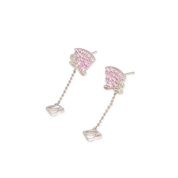 商品详情 - 纽约 IHUSH 俏物悄语 爱丽丝系列粉色疯帽子耳环 粉色 2件入 - image  0