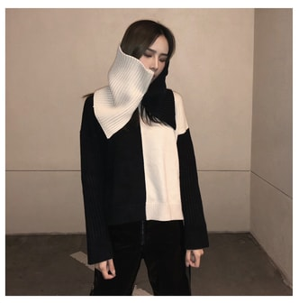 MOIS Color Block Wool Sweater With Collar Black S