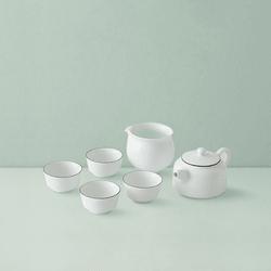 网易严选 羊脂玉白紫金线茶具 6件装 (1*壶;1*公道杯;4*品茗杯)