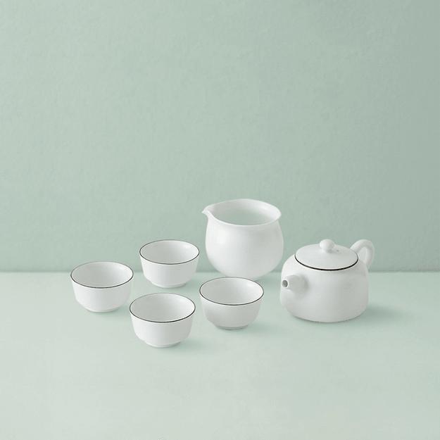 商品详情 - 网易严选 羊脂玉白紫金线茶具 6件装 (1*壶;1*公道杯;4*品茗杯) - image  0