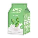 韩国 A'PIEU 绿茶牛奶面膜 保湿镇静 1片入