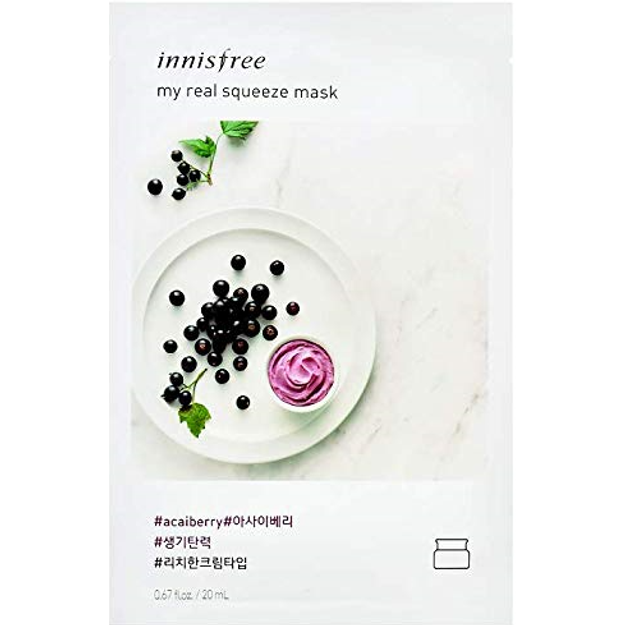 Product Detail - INNISFREE fresh and beautiful facial makeup mask moisturizing and brightening skin care(1 tablet) #Brazilberry - image 0