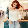 WINGS Loose Sheer Crochet Knit Top #Ivory One Size(Free)