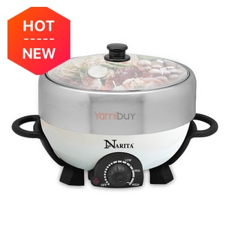 Narita Multi-function Hot Pot with Nonstick Grill Pan 4L NEC-402W (1 Year Mfg Warranty)