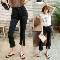 WINGS Mid High-Rise Front-Slit Crop Flare Jeans #Black L(29-30)