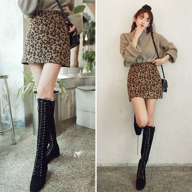 Product Detail - SSUMPART High Rise Leopard Mini Skirt #Brown S(25-26) - image 0