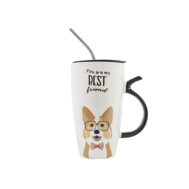 Product Detail - NAYOTHECORGI Corgi Mug Set With Lid and Metal Straw #Best Friend# - image 0