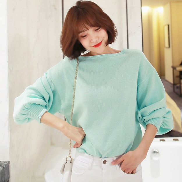 Product Detail - WINGS Balloon Sleeve Knit Top #Mint One Size(S-M) - image 0