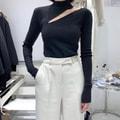 PRINSTORY 2019秋冬 特色性感镂空斜肩修身紧身露锁骨美背长袖打底衫