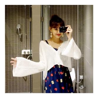 MAGZERO [2018春夏新款] 超长喇叭袖开襟衫 #白色 One Size(S-M)