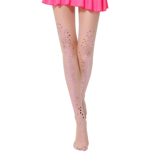 Product Detail - UNIQUEWHO Mermaid Stockings Glitter Scales Tattoo Pantyhose Purple 1 Piece - image 0